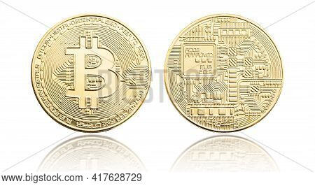 Bitcoin Coin Isolated On White Background. Cryptocurrency