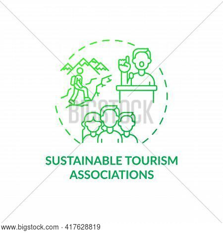 Sustainable Tourism Associations Concept Icon. Best Sustainable Tourism Practices. Making Nature Are