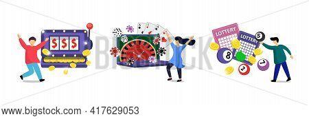 Online Gambling Addiction Set. Risky Entertainment Internet Casino Dependence Illustration. Slot Mac