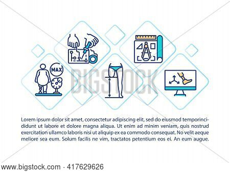 Prosthetics Concept Line Icons With Text. Ppt Page Vector Template With Copy Space. Brochure, Magazi