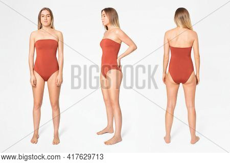 Strapless orange swimsuit women's summer apparel with design space full body set