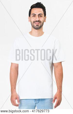 White t-shirt men's basic wear