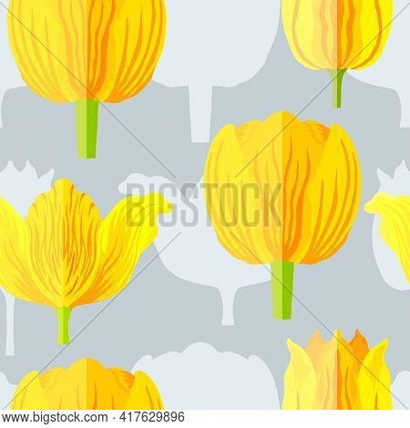 Seamless Pattern With Three Types Of Yellow With Orange Tulips. Blue Silhouettes Of The Same Tulips