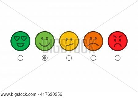 Vector Feedback Survey Icons. Scale Of Colorful Emotion Smiles Isolated On A White Background