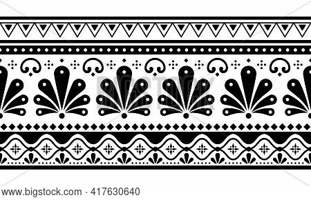 Talavera Poblana Vector Seamless Long Horizontal Black And White Pattern Inspired By Traditional Mex