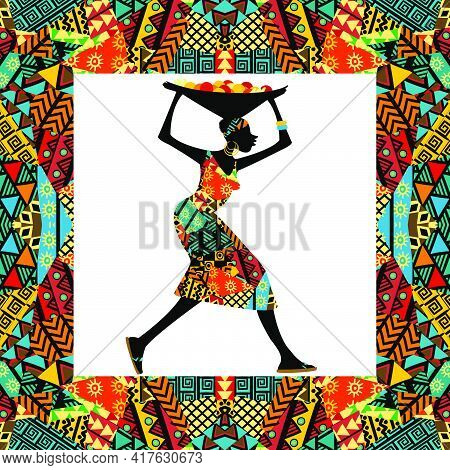 African Colored Motifs Frame With African Woman