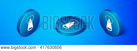 Isometric Zipper Icon Isolated On Blue Background. Blue Circle Button. Vector