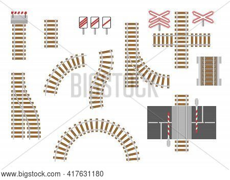 Railroad Or Train Tracks Top View Vector Illustrations Set. Collection Of Cartoon Rails, Switches, S