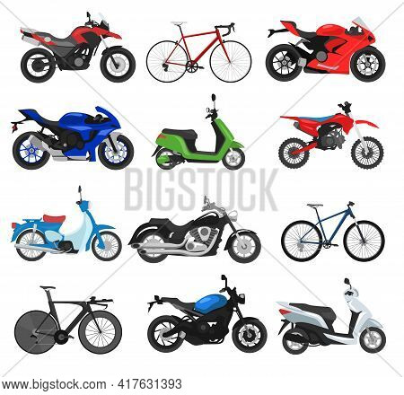 Different Motorbikes And Cycles Flat Vector Illustrations Set. Collection Of Motorcycles, Bicycles,