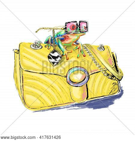 Hand-drawn Bright Colorful Stylized  Fashion Illustration Of A Funny Fashionista Froggy With Trendy