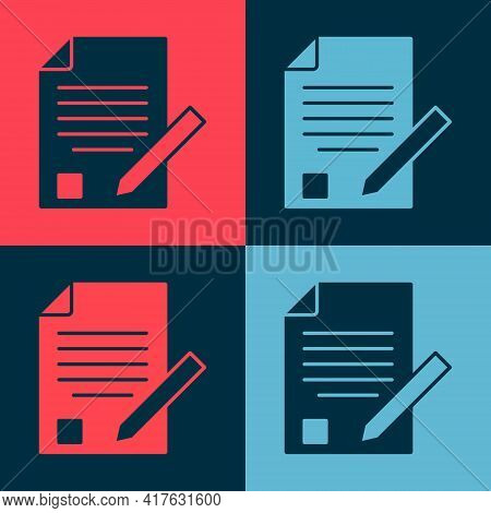Pop Art Exam Sheet And Pencil With Eraser Icon Isolated On Color Background. Test Paper, Exam, Or Su