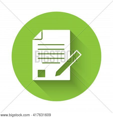 White Exam Sheet And Pencil With Eraser Icon Isolated With Long Shadow. Test Paper, Exam, Or Survey