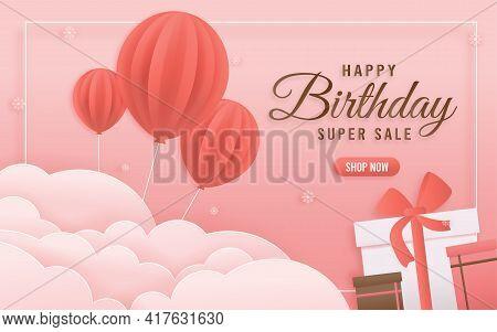 Online Shop Banners Discount Pink Color Birthday Theme. Celebration Voucher Happy Birthday. Decorati