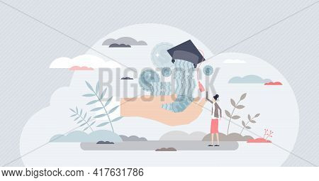 Scholarship Credit For Students Education Tuition Payment Tiny Person Concept. Money Investment In K