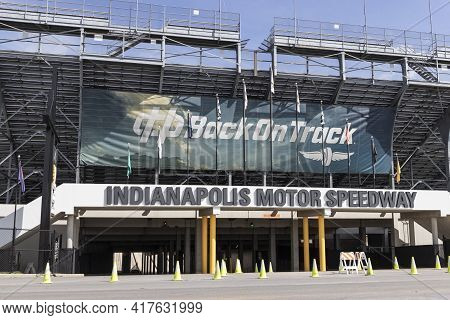 Indianapolis - Circa April 2021: Indianapolis Motor Speedway Gate Two Entrance. Ims Is Preparing For