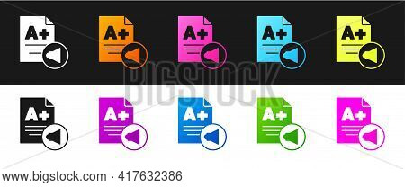 Set Exam Sheet With A Plus Grade Icon Isolated On Black And White Background. Test Paper, Exam, Or S