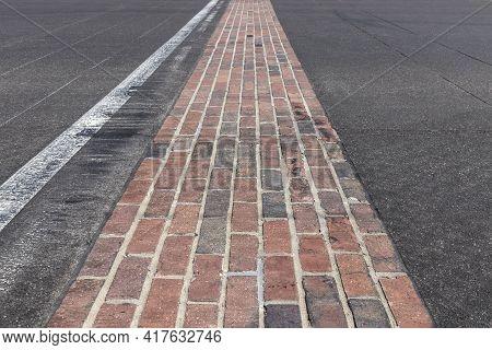 Indianapolis - Circa April 2021: The Yard Of Bricks At Indianapolis Motor Speedway. Ims Is Preparing