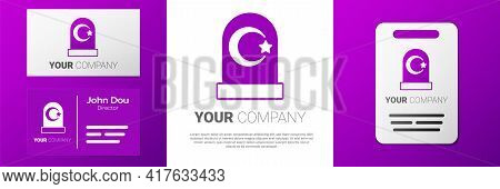 Logotype Muslim Cemetery Icon Isolated On White Background. Islamic Gravestone. Logo Design Template