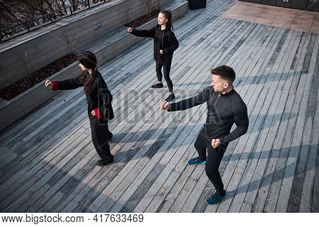 Right Forward Punch Practised At Martial Arts Training Session