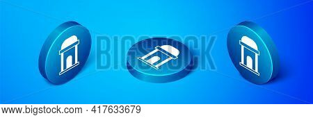 Isometric Old Crypt Icon Isolated On Blue Background. Cemetery Symbol. Ossuary Or Crypt For Burial O