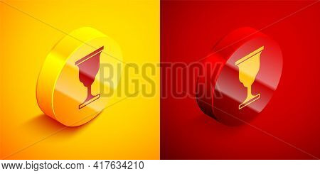 Isometric Christian Chalice Icon Isolated On Orange And Red Background. Christianity Icon. Happy Eas