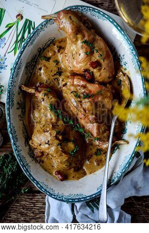 Rabbit In Mustard Sause.style Rustic. Selective Focus