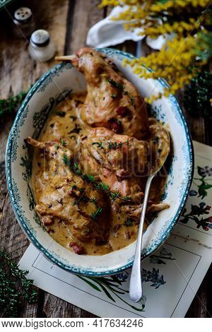 Rabbit In Mustard Sause.style Rustic .selective Focus