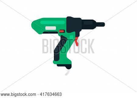 Electric Riveter Side View. Power Tools For Home, Construction And Finishing Work. Professional Work