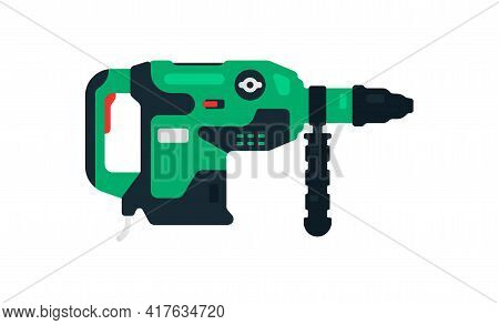 Electric Rotary Hammer Drill Side View. Power Tools For Home, Construction And Finishing Work. Profe