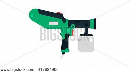 Spray Gun, Airbrush Side View. Power Tools For Household, Construction, Painting And Finishing Works