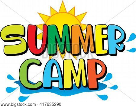 Summer Camp Logo With Water Splash And Sun