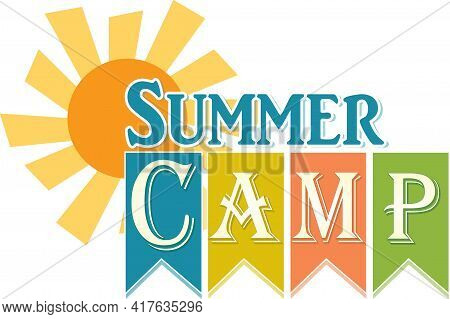 Summer Camp Banner With Sun And Ribbon Sign