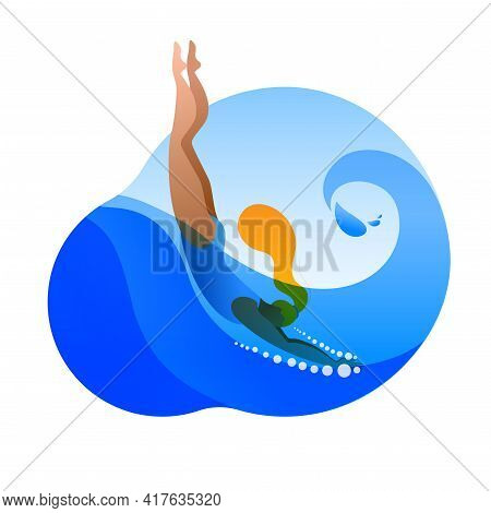 A Girl In A Swimsuit Dives Into The Water. Vector Sticker Or Icon On The Theme Of Swimming.