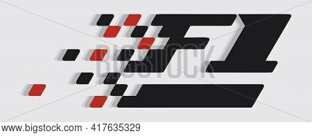 F1 Formula Sign In Black And Red Colors On Gray Background. Vector Print Illustration. Vector Illust