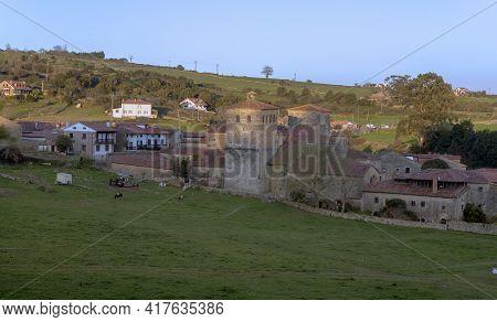 Santillana Del Mar Medieval Town In Cantabria Spain, With A View Of The Santa Juliana Collegiate Chu