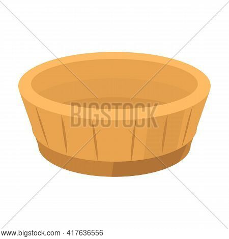 Wooden Basin Vector Icon.cartoon Vector Icon Isolated On White Background Wooden Basin.