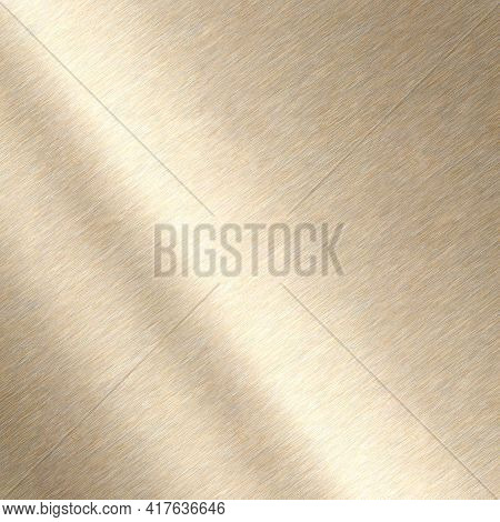 Shiny Brushed Metallic Gold Background Texture. Polished Metal Bronze Brass Plate. Sheet Metal Gloss