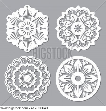 Moroccan Retro Vector Mandala Design Collections, Four Openwork Vector Detailed Arabic Patterns With
