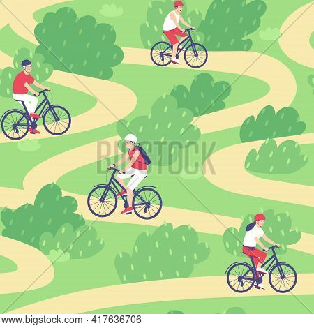 Seamless Pattern Of Cyclists Riding Along The Footpath In The Summer. People Ride Bicycles In Helmet