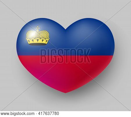 Heart Shaped Glossy National Flag Of Liechtenstein. European Country National Red And Blue Flag Butt