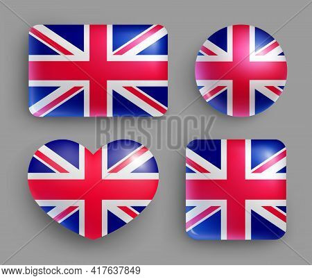 Glossy Buttons With Britain Country Flags Set. European Country National Flag Shiny Badges Of Differ