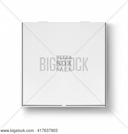 Front View Of Closed Pizza Box Pack Mockup. Blank White Cardboard Box, Meal Delivery Service Object,