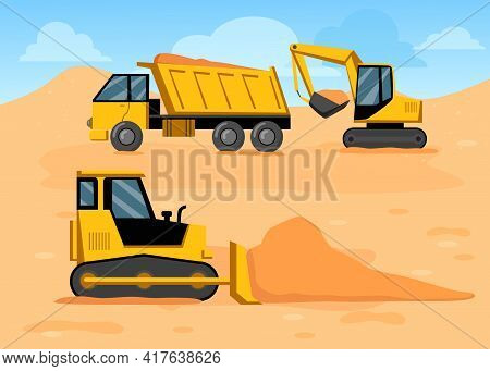Cartoon Truck, Excavator And Bulldozer On Construction Site. Yellow Construction Machinery Digging S
