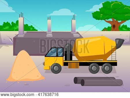 Cartoon Concrete Or Cement Mixing Machine On Construction Site. Yellow Mixer, Pile Of Sand, Blue Sky