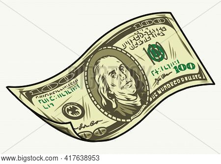Falling One Hundred Us Dollar Bill In Vintage Style Isolated Vector Illustration