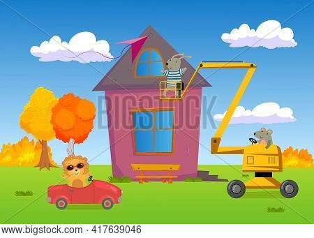 Wild Animals Finishing House Construction. Lion In Car, Mouse Lifting Rabbit On Boom Lift, Friends B