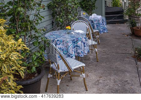 New Orleans, La - January 12: Outdoor Dining Tables At Café Degas On Esplanade Avenue On January 12,