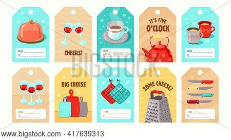 Stylish Special Tag Designs With Kitchen Utensils. Cartoon Glassware, Kettle, Cups, Knives On Colorf