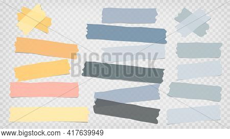 Grey, Blue, Yellow Different Size Adhesive, Sticky, Masking, Duct Tape, Paper Pieces Are On White Sq