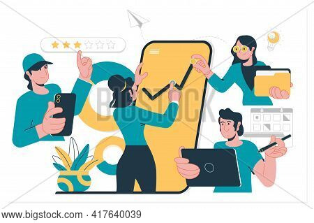 The Concept Of Joint Teamwork, Building , Business Team.vector Illustration Flat Design Style. Symbo